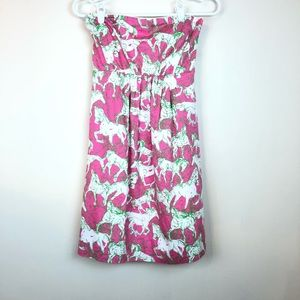 Lilly Pulitzer Derby Dress Strapless Pink Green